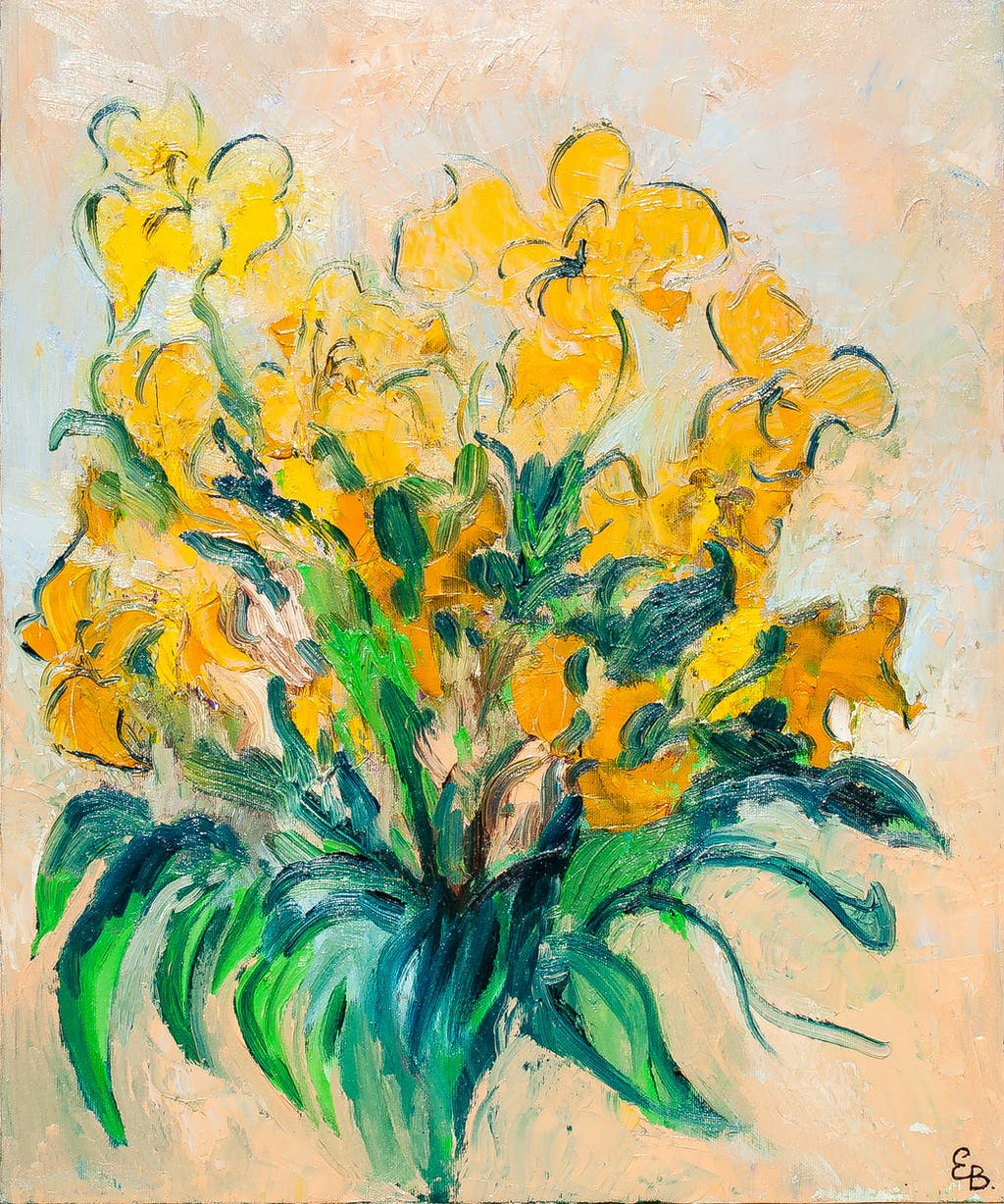 """Painting """"Yellow tulips"""", painted by Elena Birkenwald in 1997"""