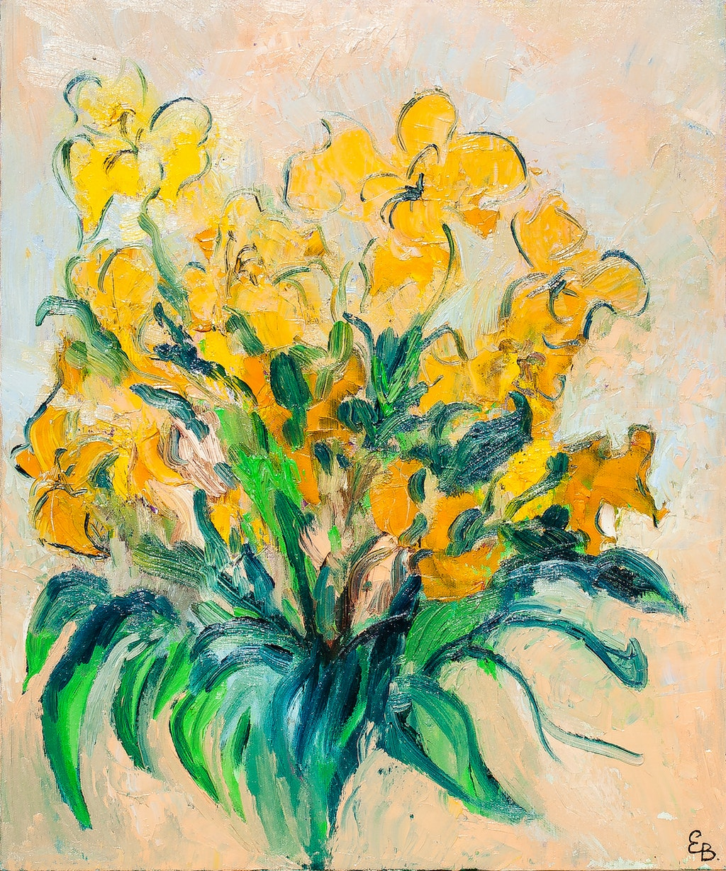 "Painting ""Yellow tulips"", painted by Elena Birkenwald in 1997"